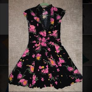 Free People Black and Floral Dress